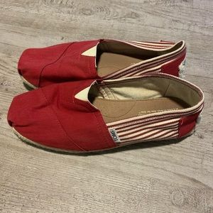 TOMS Red and White Striped Espadrilles